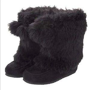 GYMBOREE Toddler Girls Black Faux Fur Pom Pom Boot